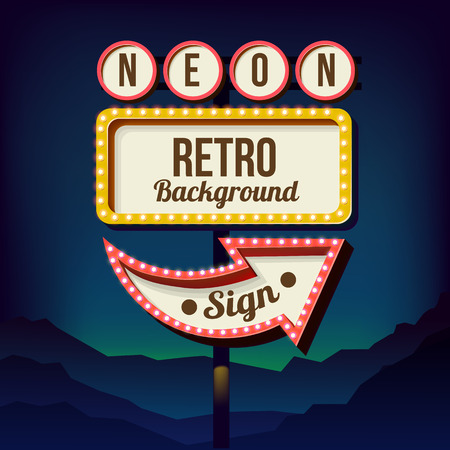 Neon sign with lights. Retro billboard in the city at night. Clean place with a 3D frame. Volumetric vintage frame. Roadside sign. Road red sign from the 50s. Shield against night mountain. Vector Vectores
