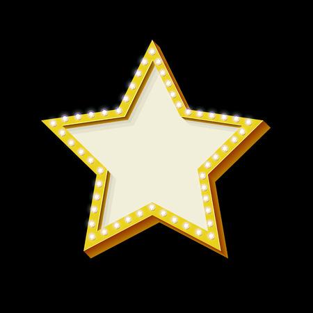 estrellas: estrella de neón retro con las luces. Símbolo de la vendimia de una estrella. icono del marco volumétrica 3D. De fondo del texto, los mensajes. Diseño ellement de banner publicitario. ilustración vectorial