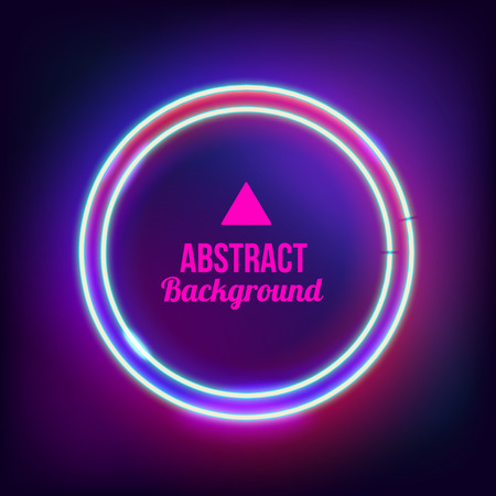 ad sign: Neon abstract round. Glowing frame. Vintage electric symbol. Burning a pointer to a black wall in a club, bar or cafe. Design element for your ad, sign, poster, banner. Vector illustration Illustration