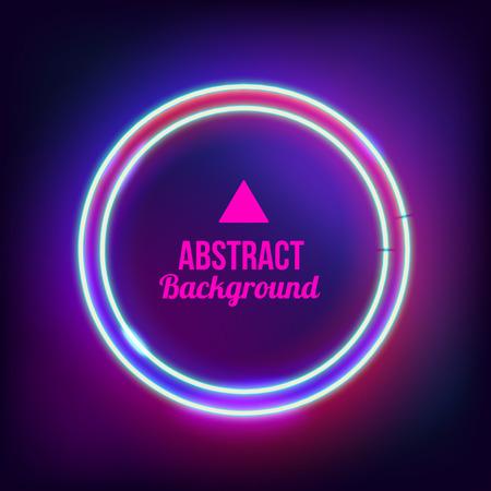 Neonzusammenfassung Runde. Glowing Rahmen. Vintage-E-Symbol. Brennen einen Zeiger auf eine schwarze Wand in einem Club, eine Bar oder ein Café. Design-Element für Ihre Anzeige, Zeichen, Poster, Banner. Vektor-Illustration