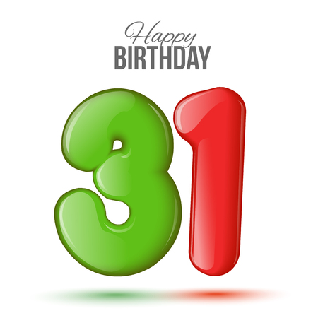 eighteen: Number thirty one, 31 greeting card, 3d number eighteen. The volume figure 31 years. Positive, colorful, figure. Vector illustration. Inflatable red, blue. Sample card. celebrating birthday