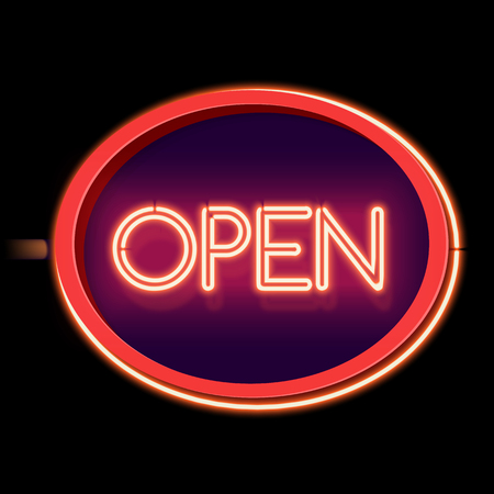 insoles: Retro neon sign on the street open. Oval frame with  3D burning electric lamp. The sign at the store, club or bar. Red light from the bright light falls on a black background. Vector illustration