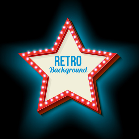 hollywood star: Retro Hollywood star. 3d vintage frame with glowing lights. Red volumetric retro star with a blue neon light. Frame with pure white space for your text message advertising businesses. Vector Illustration