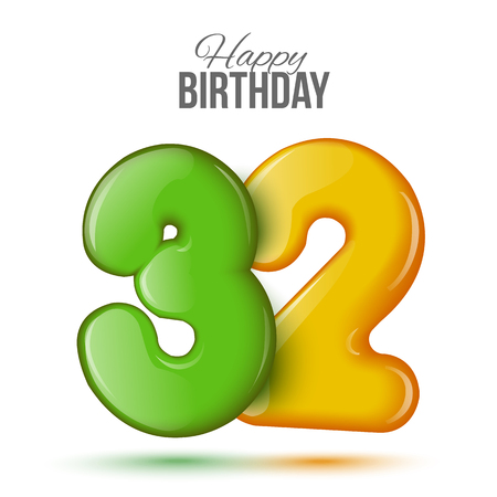 32: Number thirty two, 32 greeting card, 3d number eighteen. The volume figure 32 years. Positive, colorful, figure. Vector illustration. Inflatable green, yellow. Sample card. celebrating birthday. Illustration