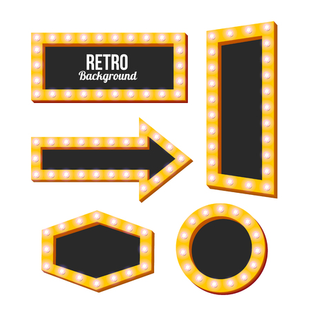 board games: Yellow retro signs. Neon Night frame. Vintage backgrounds. Empty space for text. Pointers in retro style. Yellow three-dimensional framework. Bright lamp perimeter. Vector illustration Illustration