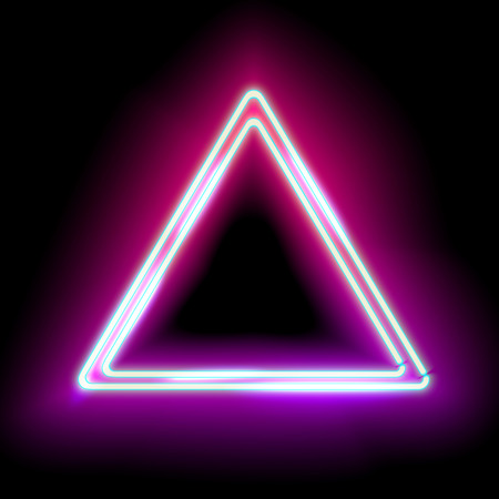 Neon abstract triangle. Glowing frame. Vintage electric symbol. Burning a pointer to a black wall in a club, bar or cafe. Design element for your ad, sign, poster, banner. Vector illustration Reklamní fotografie - 52617325