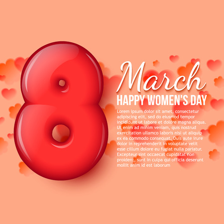 volumetric: International Womens Day. Womens holiday. March 8. Holiday card. Pink background with flowers and hearts. Volumetric 3D red eight. Space for your text message advertising. Vector illustration Illustration