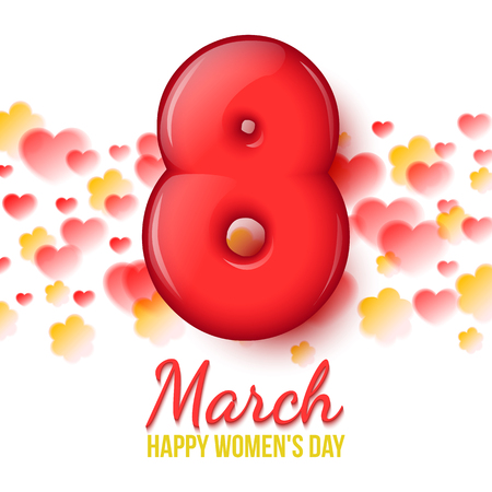 figure of eight: International Women Day. Womens holiday. March 8. Holiday card. white background with flowers and hearts. Volumetric 3D red eight. Volume Eight realistic. Inflatable figure 8. Vector illustration Illustration