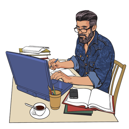 A hipster man in a jeans jacket sits at a table. Writer, journalist, scholar, student write his work in the computer. Work on the Internet. On the table, a lot of paperwork. The process of study. Vector