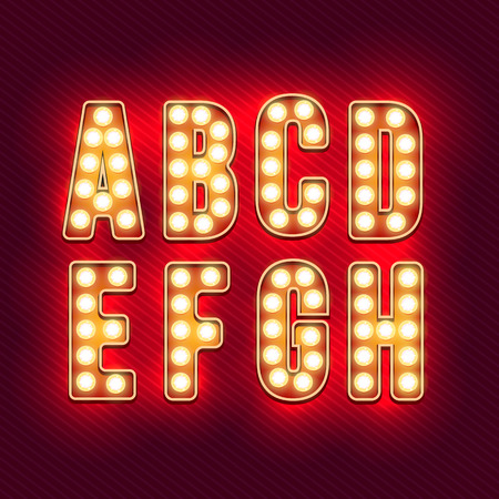 Retro alphabet. Realistic vintage letters. Neon light bulbs. Red retro letters. Set of old vintage letters. Glow in the dark. Letters for signs. For words with vintage style. Vector illustration
