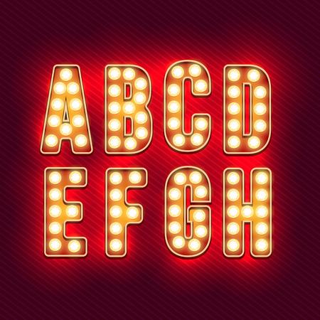 Retro alfabeto. lettere d'epoca realistici. lampadine al neon. Red retro lettere. Set di vecchie lettere d'epoca. Si illuminano al buio. Lettere per i segni. Per le parole con stile vintage. illustrazione di vettore Archivio Fotografico - 52617332