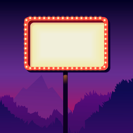50s: Vintage signboard with lights. Roadside sign. Road sign from the 50s. Retro character. Red billboard with lamps. White background with a blank frame 3D. Shield against night mountain. Vector Illustration