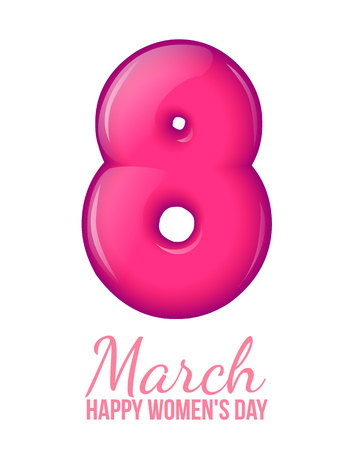 inflated: The volume figure 8. Eighth of March. International Womens Day celebration. Inflated balloon 8. Pink figure. 3d eight. Greeting card on a white background. Simple and stylish vector illustration