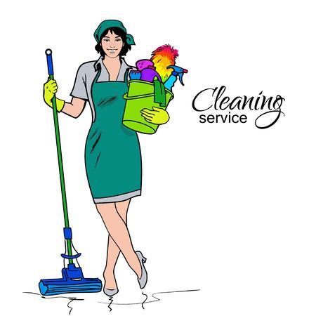 limpieza  del hogar: Servicios de limpieza. El limpiador con una fregona. Limpieza de casas y oficinas. La muchacha alegre con un cubo. Ella va a purificar todos. Mujer en uniforme. Fácil limpieza. ilustración vectorial