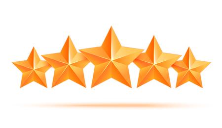 five star: Realistic 3D gold star. Award winner. Five gold stars. Good job. Best reward. bulk copper star. Simple 5 star on a white background. The award for the best choice. Premium class. Vector illustration Illustration
