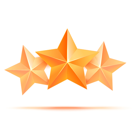 star award: Realistic 3D gold star. Award winner. Three gold stars. Good job. Best reward. bulk copper star. Simple 3 star on a white background. The award for the best choice. Premium class. Vector illustration