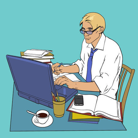 scholar: A man in a shirt sits at a table. Writer, journalist, scholar, student write his work in the computer. Work on the Internet. On the table, a lot of paperwork. The process of study. Vector illustration