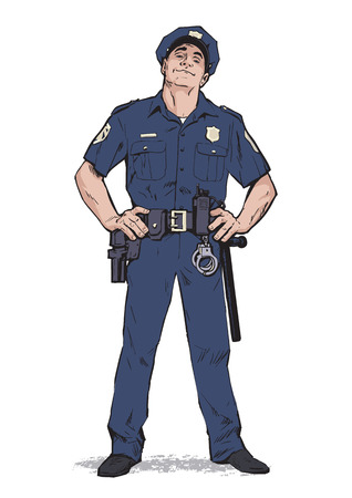 contentment: Content policeman in uniform. Blue form. Confident cop. Self-confident man in a blue uniform. The guy in the cap. Happy policeman. Strong character. Catch the criminals. Vector illustration.