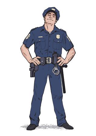 Content politieagent in uniform. Blauwe vorm. Zelfverzekerd cop. Zelfverzekerde man in een blauw uniform. De man in de dop. Gelukkig politieman. Sterk karakter. Vang de criminelen. Vector illustratie.