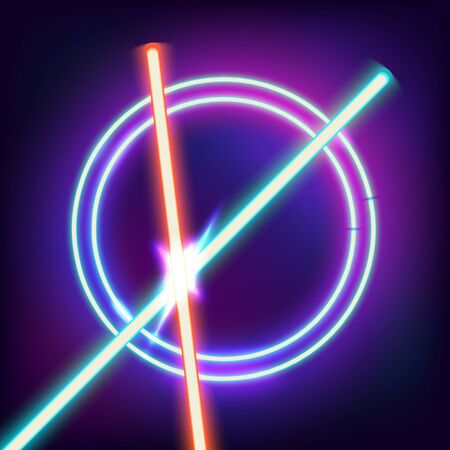 angry sky: Two crossed lightsabers. Red and blue sword in the night sky. Neon swords and neon circles in space. Flash contact. Vector illustration
