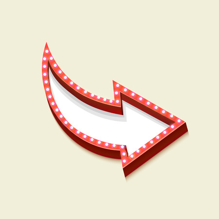 red  pointer: Realistic retro arrow with lights. Volume red pointer on white background and empty space for your text messages, promotions, advertising or discounts. Vector illustration