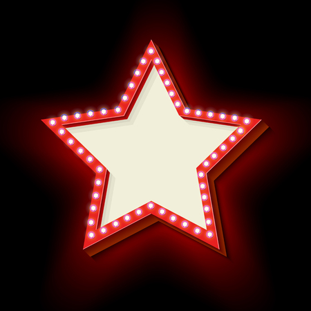 Red retro star frame. The symbol vintage volume with stars glowing lights. Starry frame with neon lights. Frame Hollywood star. Blank white space for your text ads business. Vector illustration