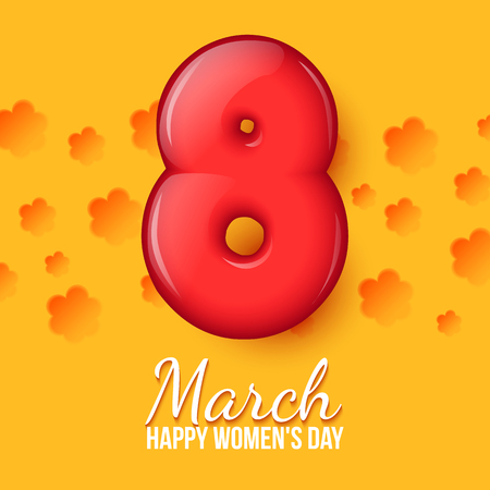 figure of eight: Orange card with flowers. Holiday illustration with 3d eight. Red figure 8. International Womens Day. Greeting card with a volume eight. Womens Day. Vector illustration