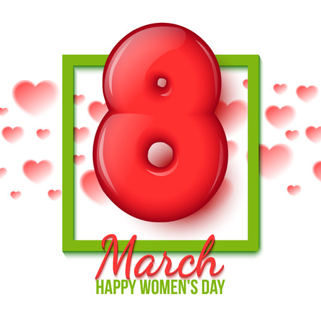 spring festival: International Womens Day. Holiday card. Women holiday. March 8. Volume red figure 8. 3d figure eights. Green frame. Heart. spring Festival. Vector illustration