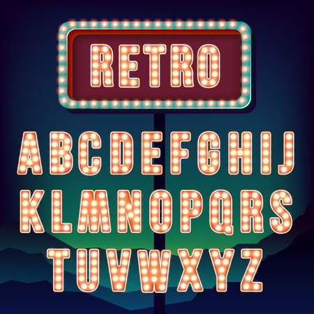 hollywood: Retro alphabet. Realistic vintage letters. Neon light bulbs. Red retro letters. Set of old vintage letters. Glow in the dark. Letters for signs. For words with vintage style. Vector illustration