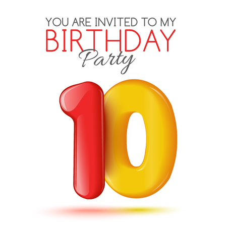 editable sign: Ten years. Invitation card. The invitation to the feast. Invitation to the 10 years. Celebrating ten years. Bright 3D volume figure. Number 10. Inflatable figures. Invitation card with red balloons. Illustration