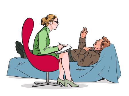 Ayudar psicólogo. Psicoterapia. Consultar médico psicólogo. Psicólogo escucha al paciente. Psicólogo evalúa al paciente. Psicólogo resuelve el problema. asesoramiento médico. Vector