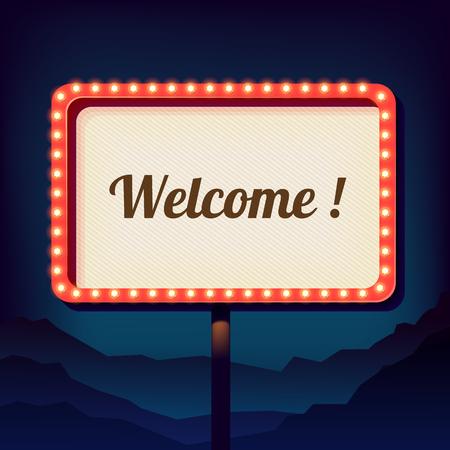 Schermo dell'annata con una scritta di benvenuto. Promozionale 3d retro segno sulla città. segno di notte su uno sfondo di montagne. È accolto favorevolmente. Luci al neon su un cartello stradale. Vettore