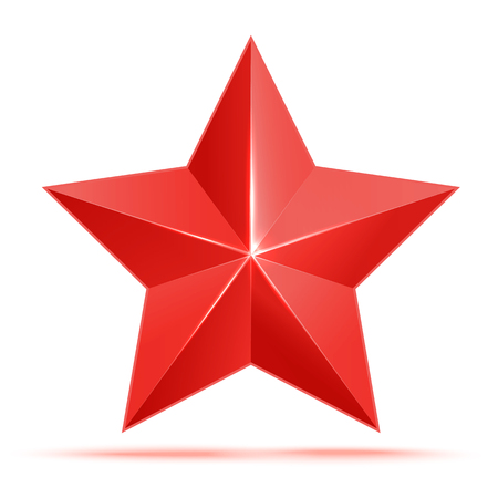 star award: Realistic 3D red star. Award winner. Good job. The best reward. bulk red star. Simple star on a white background. The award for the best choice. Premium class. Vector illustration Illustration