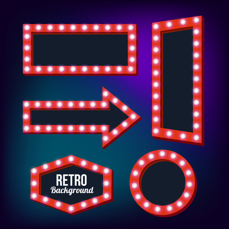 Red retro signs. Neon Night frame. Vintage backgrounds. Empty space for text. Pointers in retro style. Red three-dimensional framework. Bright lamp perimeter. Vector illustration
