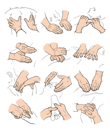 Hand massage, foot massage, back massage. Types of massage. Set with image of massage. Face massage. Massage therapy. Therapeutic manual massage. Relaxing therapy. Massage vector icons. Body massage Illustration