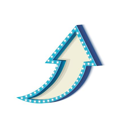 futile: Blue retro frame. Volumetric vintage frame with lights. Futile empty space for your text message advertising. Blue light lamps falls on a white background. Vector illustration
