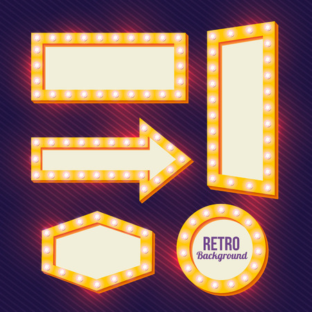 perimeter: Yellow retro signs. Neon Night frame. Vintage backgrounds. Empty space for text. Pointers in retro style. Yellow three-dimensional framework. Bright lamp perimeter. Vector illustration Illustration