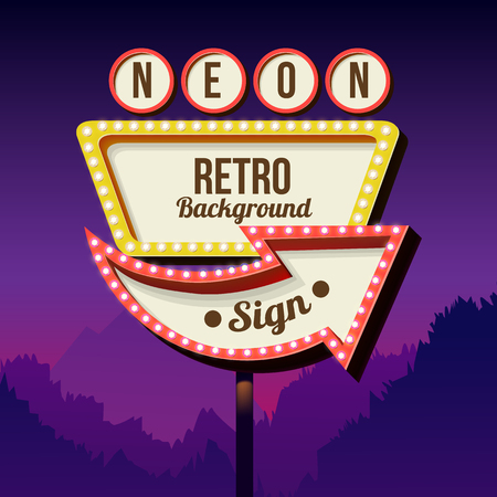 sign in: Neon sign with lights. Retro billboard in the city at night. Clean place with a 3D frame. Volumetric vintage frame. Roadside sign. Road red sign from the 50s. Shield against night mountain. Vector Illustration
