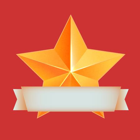 bulk: Realistic 3D gold star. Award winner. Good job. The best reward. bulk copper star. Simple star on a red background. The award for the best choice. Premium class. Golden 3d star with ribbon. Vector