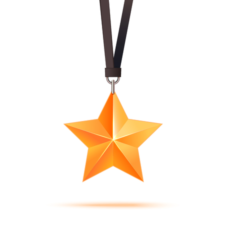 star award: Realistic 3D gold star. Award winner. Good job. The best reward. bulk copper star. Simple star on a white background. The award for the best choice. Premium class. Vector illustration