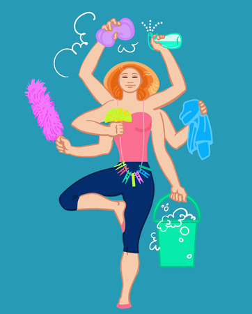 carpet cleaning service: Cleaning services. The cleaner with a mop. Cleaning homes and offices. Cheerful girl with a bucket. She will purify all. Woman in uniform. Easy cleaning. Vector illustration