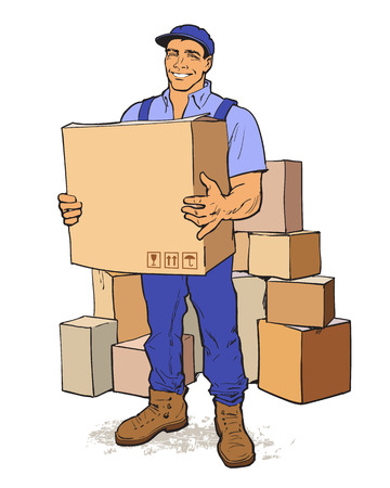 Moving Companies. Shipping. Happy loader stands with box. Vector illustration. Move house service. Transportation of things. Delivery of goods. Box. Carrier with a box isolated. Transportation package Illustration