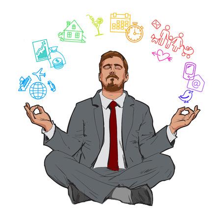 ニルヴァーナのビジネスマン。リラックスした実業家。自分で検索、リラックスします。世界との調和。男は休憩します。瞑想の男。職場でのスト  イラスト・ベクター素材
