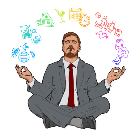 poise: Businessman in nirvana. Relaxed businessman. Search yourself, relax. Harmony with the world. Man resting. Man meditating. Rest of stress at work. Man relax in the vacation. Vector. Man and relax