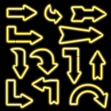 flechas curvas: señales de neón retro. Conjunto de flechas electrónicos. Iconos curvados flechas. Los elementos de diseño para sus pancartas, folletos, anuncios, Web. Símbolo de la vendimia de las flechas. ilustración vectorial Vectores