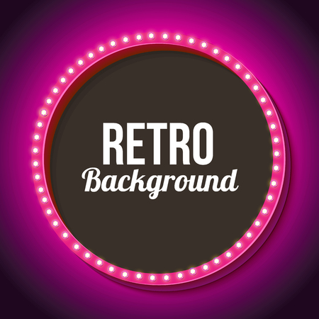 arrow sign: Pink retro frame with lamps. Round 3D Vintage frame with onyami. Neon light falls on the black wall. Black empty space for your text messages, promotions or advertising. Vector illustration