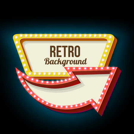 Retro night sign with an arrow. Vintage 3D volumetric banner. Outdoor advertising. Realistic character to your text. Design ellement for your advertising banner. Vector illustration