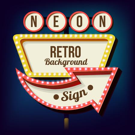 nacht: Retro Nacht Schild mit einem Pfeil. Jahrgang volumetrische 3D-Banner. Aussenwerbung. Realistische Charakter zu Ihrem Text. Design ellement für Ihre Werbung Banner. Vektor-Illustration Illustration