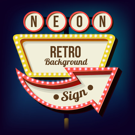 vegas sign: Retro night sign with an arrow. Vintage 3D volumetric banner. Outdoor advertising. Realistic character to your text. Design ellement for your advertising banner. Vector illustration