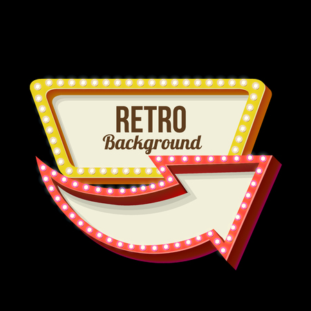 adboard: 3d Vintage street sign. Retro banner with glowing lights. Volume symbol of the frame. Design element for your poster, advertising, text. Night sign with arrow. Frame, arrow icons. Vector illustration Illustration